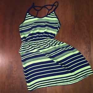 Soprano dress size S navy blue and neon green